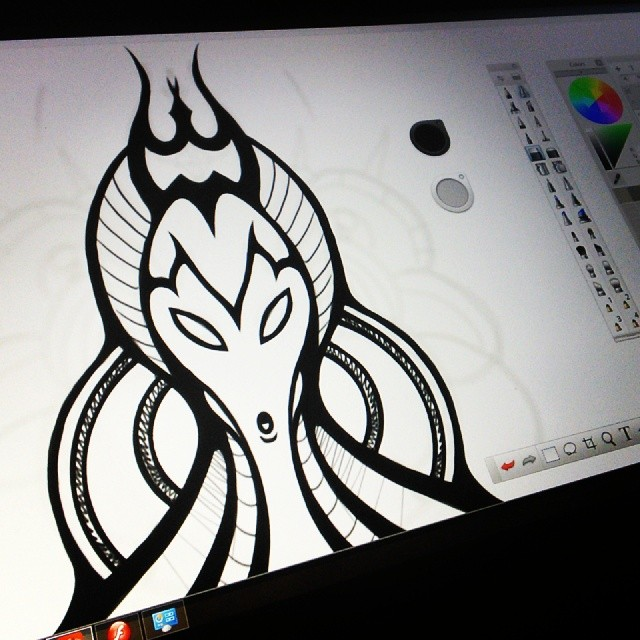 Drawing on the new #Cintiq Companion. #drawing #sketch #illustration #wacom #art #tablet #sketchbookpro #sketchbook #alien #character