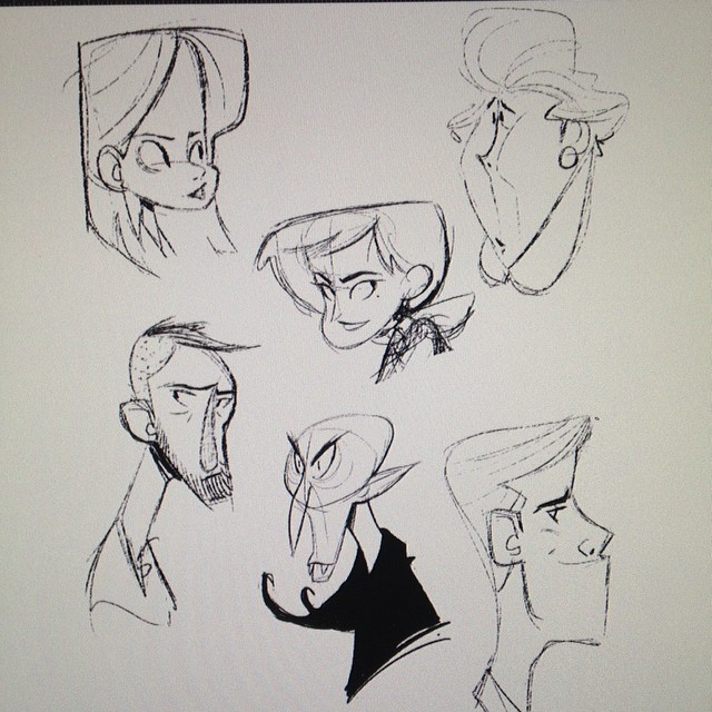 Character Design Challenge Vampire : Ladies dudes and a vampire… sketch doodle warmup