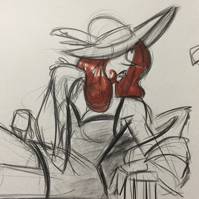 Another drawing from last weeks class #sketch #doodle #lifedrawing #gesturedrawing #redhead #lady