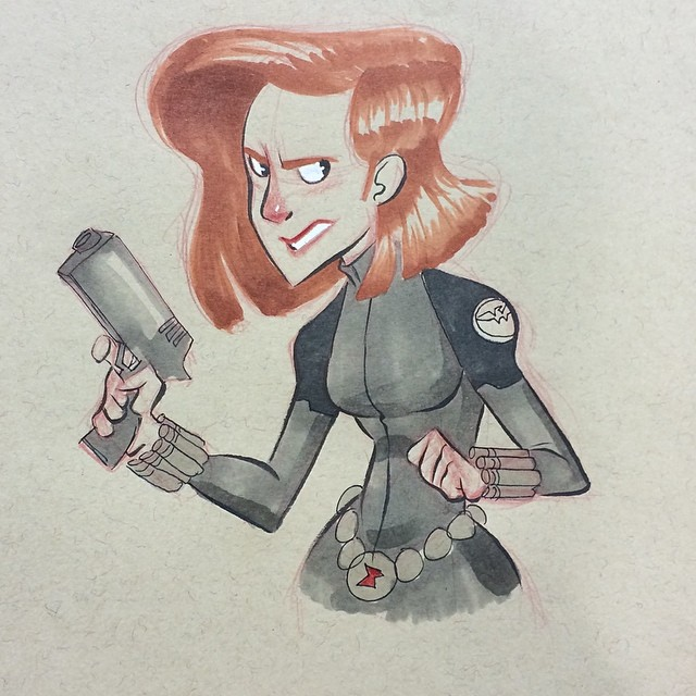 My favorite commission from this weekend. Thank you all for coming out and saying hello at #wondercon it was amazing! #blackwidow #sketch #doodle #consketch #artistsalley