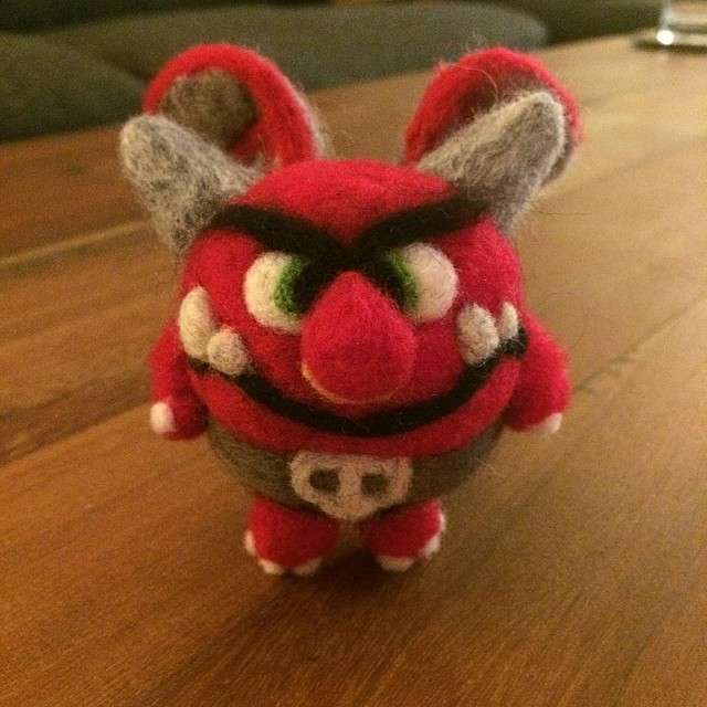 My girlfriend @rachelnelson9239 felted this little guy based on one of my designs. He and a few others will be available for purchase at WonderCon this weekend. Artists alley table 21!