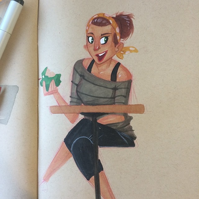 Post workout gossip on a Sunday morning #sketch #doodle #copicmarkers #fitness #gab #characterdesign #apples