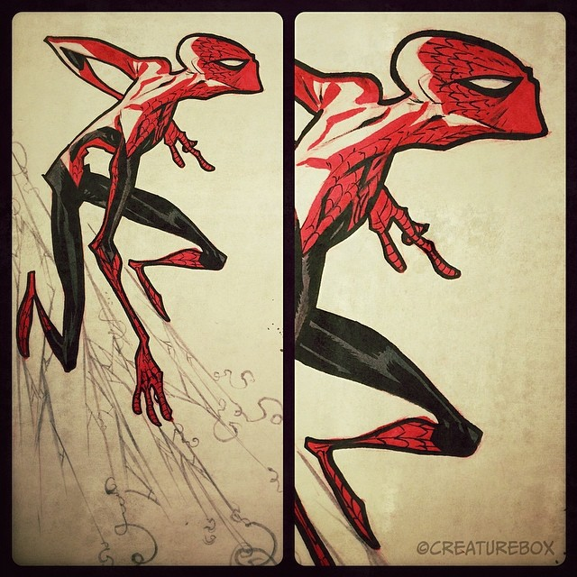 Sketch Sunday: Along Came a Spider. Pen, brush and scribbles. #spider-man #webhead