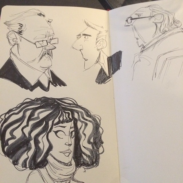 Some linch doodles from yesterday #sketch #doodle #lunch #characterdesign #bighair
