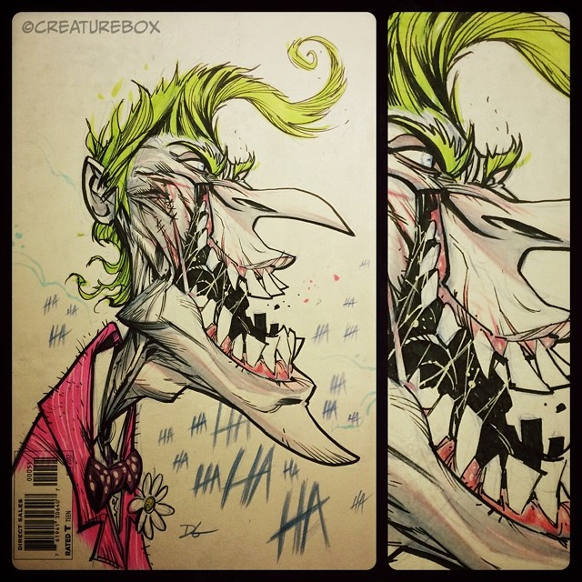 Day 3 of @heroesonline #HeroesCon ! Return of the Clown Prince sketch cover. #joker #instiches