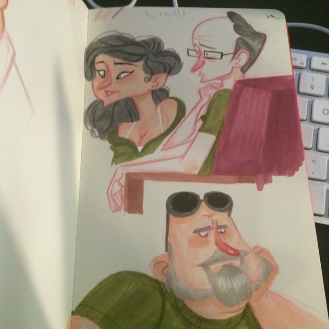 Green shirts and swoop noses. Went sketching with some former students @emilythebravee and @ghostlyre. Good times! #sketch #doodle #characterdesign #copicmarkers #coffeshop
