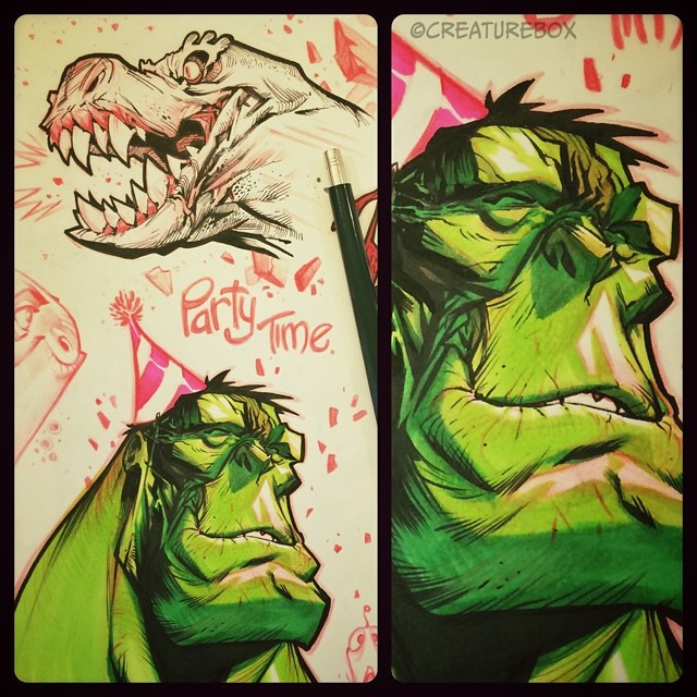 Sketchbook Sunday: Father's Day Party Time Edition. #hulk #hiphiphooray