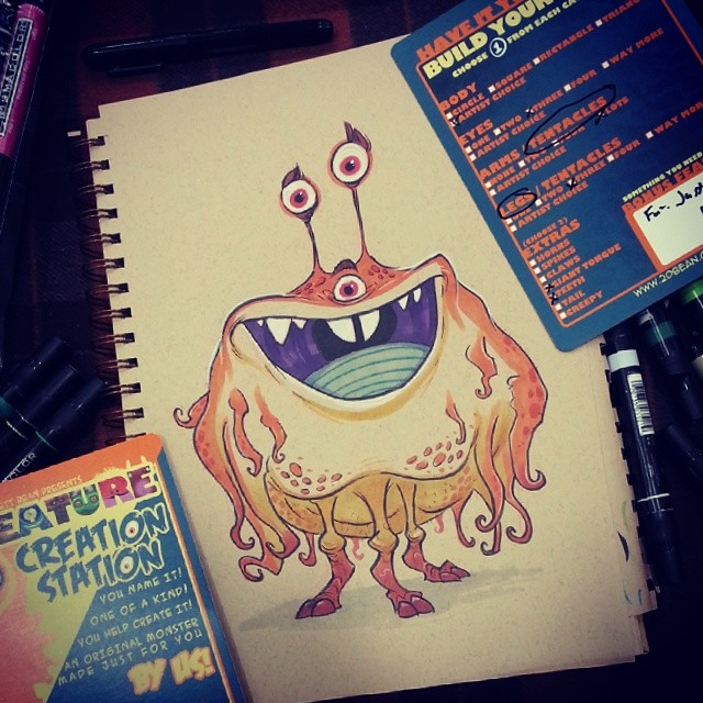 Building your creature for you! At the creature creation station at booth F8 #2dbean #art #SDCC #commission