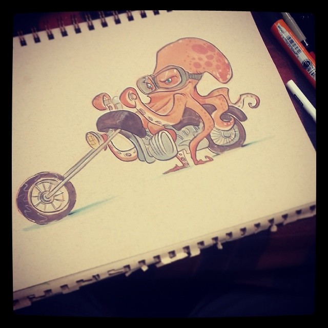 Octopus on a motorcycle commission #2dbean #art #sketch #sdcc #commission #brettbean