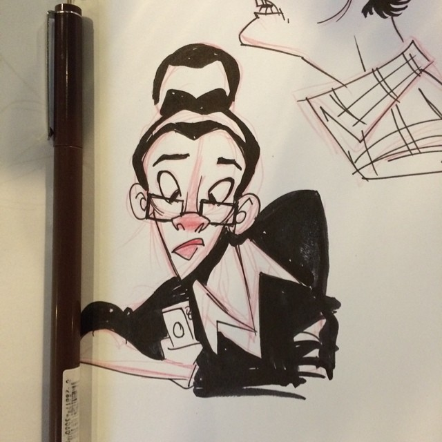 Yesterday's lunch doodle #sketch #doodle #lunch #lady #phone