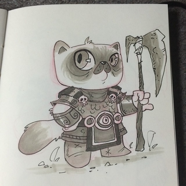 Doodled this guy while watching tv last night. #sketch #doodle #kitty #warrior #characterdesign #Himalayan