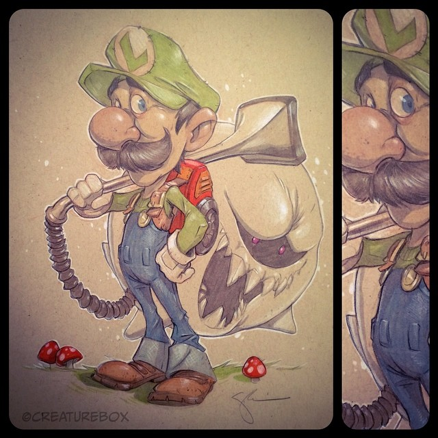 With his Mario Cart days behind him, it's time for Luigi to get back to what he loves...hunting down ghosts! #deathstare #luigi