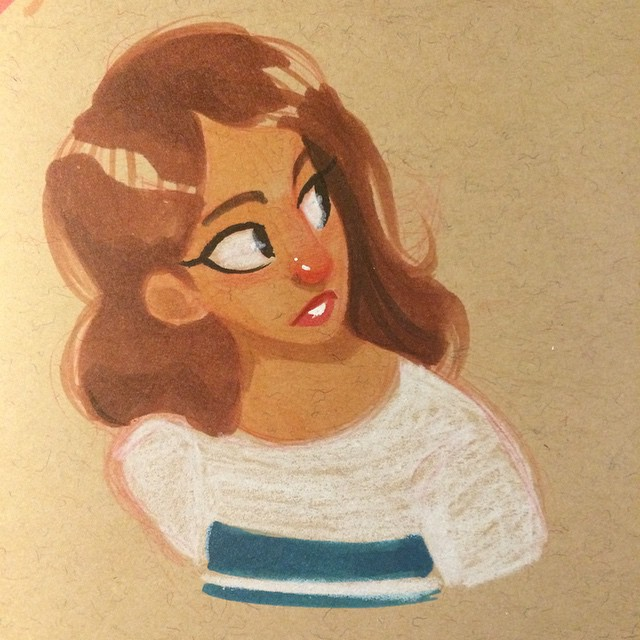 Got some good sketching in today at lunch #doodle #sketch #sketchbook #girl #characterdesign #copicmarkers
