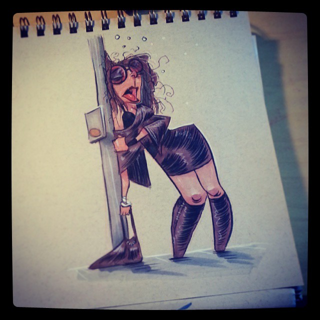 Late night #2dbean #character #design #art #prismacolors #sketch #morning #warmup #coffee #lifedrawing #brettbean