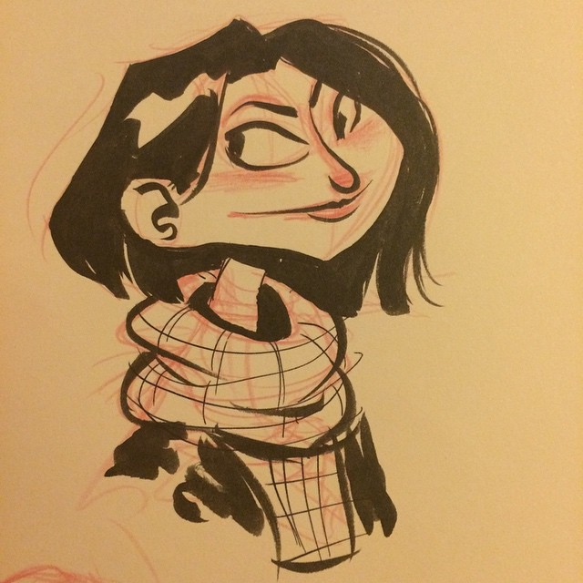 A quick #inktober after the bar before bed. #sketch #doodle #characterdesign #girl