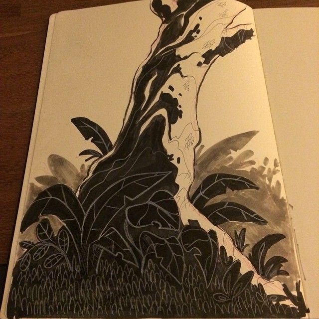 I have a mission this #inktober. Learn how to ink. Day 1 experimenting. #tree #ink #sketch #doodle #moleskin #nature
