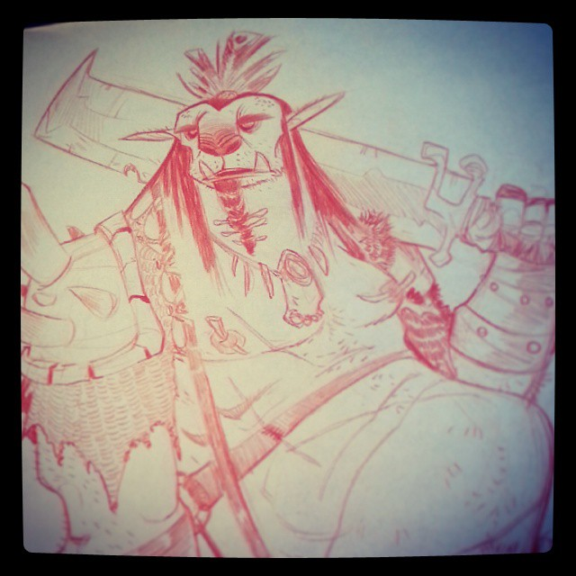 Sounds like orc mischief to me! #2dbean #character #design #art #sketch #fantasy #creature #coffee #warmup #brettbean