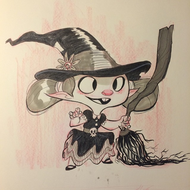 This is technically #inktober day 3. Gonna post the rest soon. #sketch #doodle #moleskin #witch #girl