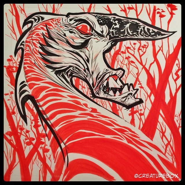 #inktober Day 10: Camouflage. W&N #2 and FW red ink.