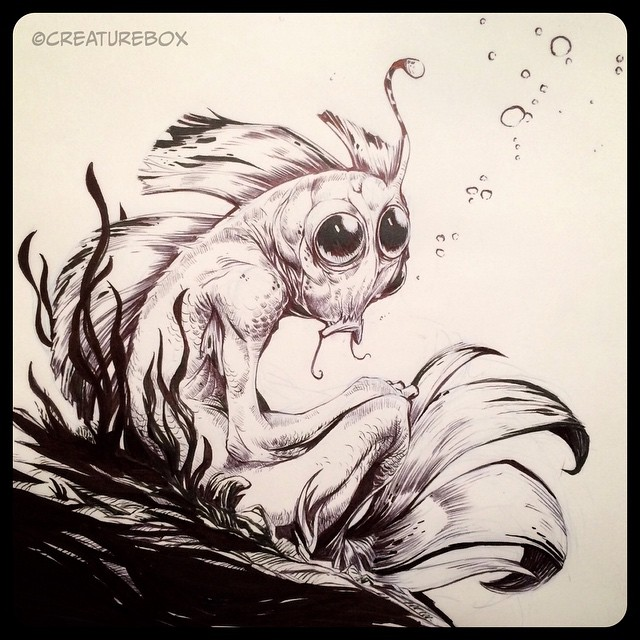 #inktober Day 11: A Somber Fish. Brush Pen and Ballpoint.