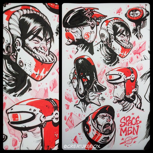 #inktober Day 14: The Spacemen of Earth4. Brush, pen, FW red ink & red pencil.