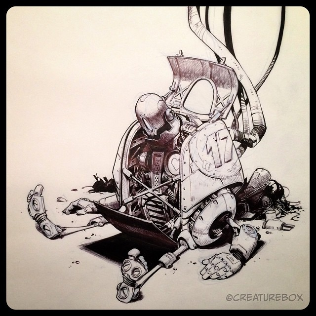#inktober Day 17: Spare Parts. Brush pen and ballpoint.