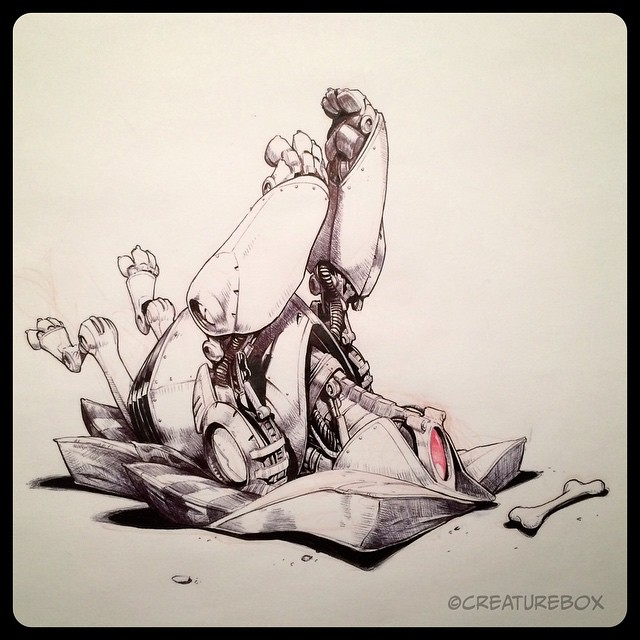 #inktober Day 21: Admitting Defeat. Brush pen, ballpoint and red pencil.