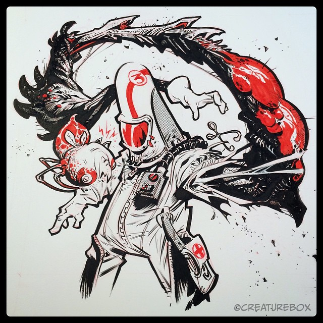 #inktober Day 26: Contagion. Pen, brush, nib and FW red ink.