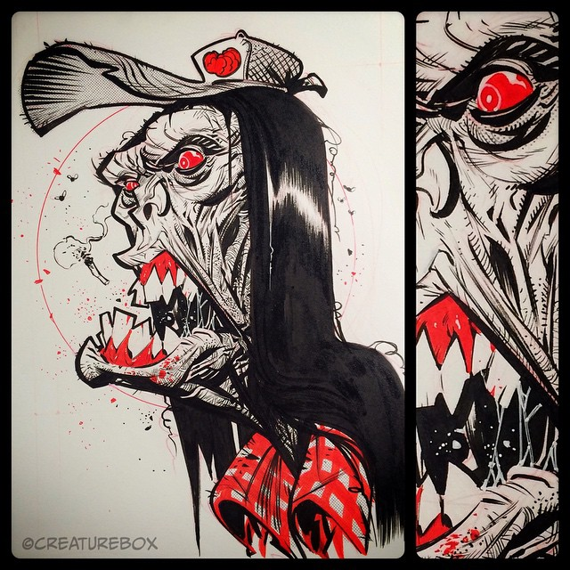 #inktober Day 30: The Zombilly of Hallows Eve. W&N #2 and FW red ink.