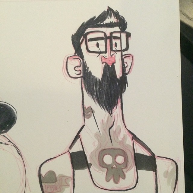 #inktober watched some crappy reality show about tattoo artists last night for some reason. #tattoo #sketch #doodle #beard #characterdesign