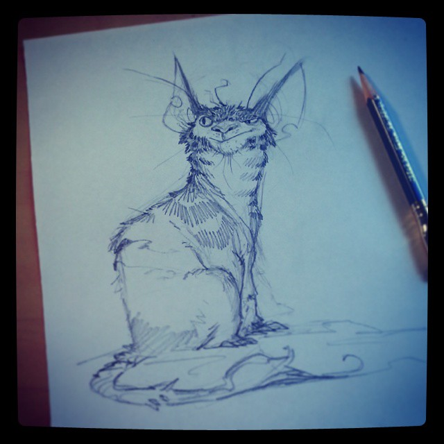 Naw man, I'm just sayin' he's just always there, ya know? Staring...scheming. I TOLD you not to bring him on board. I said it before. Never trust a space cat. Man... he just gives me the willies. .. watching us like that... #brettbean #2dbean #art #sketch #fantasy #creature