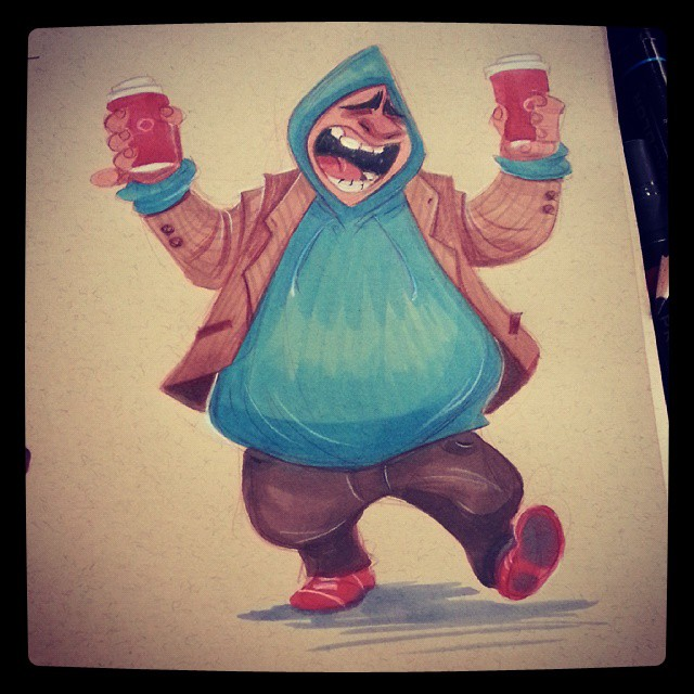 A good morning #2dbean #character #design #prismacolors #art #sketch #morning #warmup #coffee #lifedrawing #figure #drawing #brettbean #sketch
