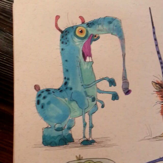 Monster alien morning #2dbean #art #sketch #fantasy #creature #brettbean #design #prismacolors #monster #alien