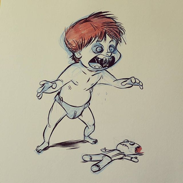 Finnegan is teething.... so I zombified my baby.....don't judge me.... #brettbean #zombie #baby #inktober #2dbean #fantasy #ink #sketch #drawing