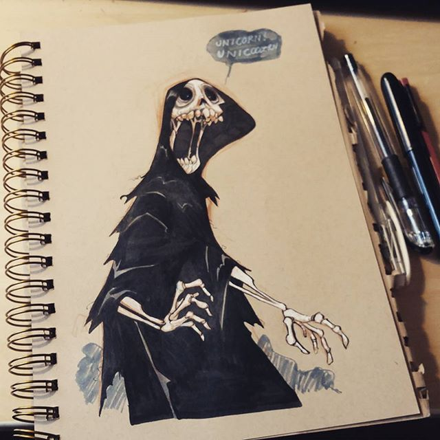 Skele-ton o fun! #inktober #2dbean #fantasy #ink #sketch #drawing #monster #brettbean #grim #reaper #halloween