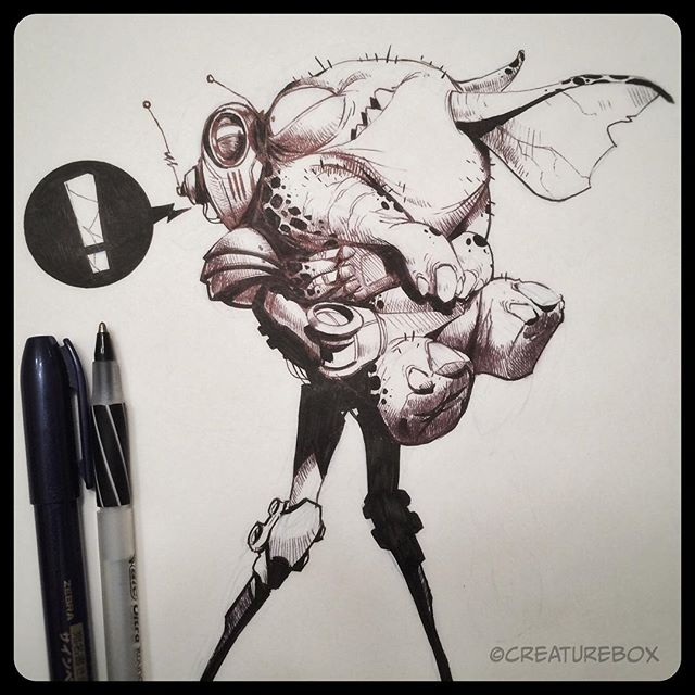 Sasha was so happy to see him again, but things just weren't the same. #penandink #robot #monster