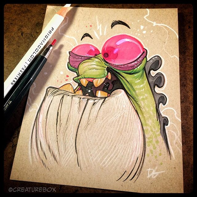 Clerburt was ecstatic to have well placed pencils by his side. #friends4life #shredsketch #markers #ink
