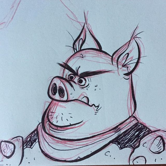 A doodle from the other night. #sketch #doodle #pig #characterdesign