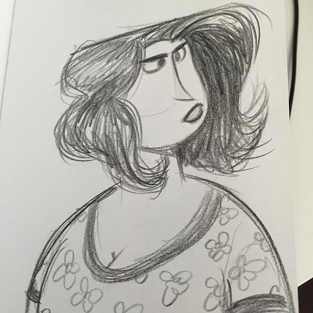 Another recent lunch pencil #doodle #sketch #characterdesign #lady