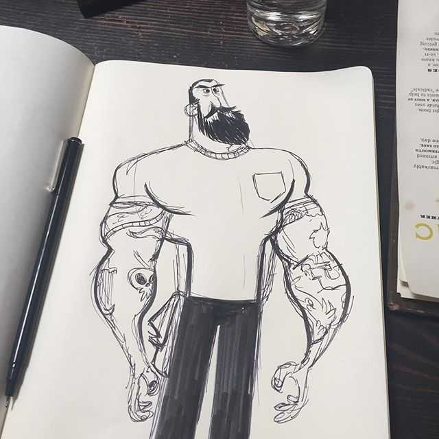 Bar keep! #sanfrancisco #characterdesign #tattoos #gooddrinks #iwannalivehere