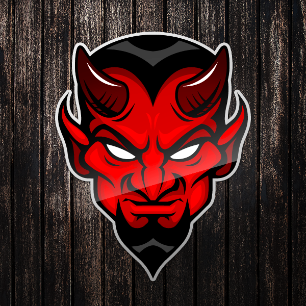 Cool Red Devil Head Sticker